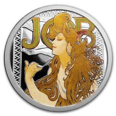 Alphonse Mucha Collection - JOB 5 oz .999 Silver Colorized Proof Round USA Coin