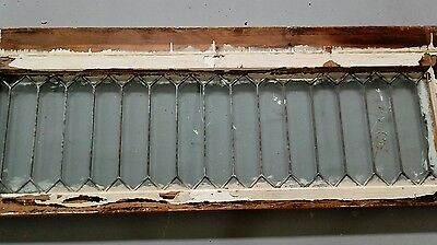 "Antique Geometric Leaded Glass Transom Window 54"" x 21""~Needs Scraped & Cleaned"