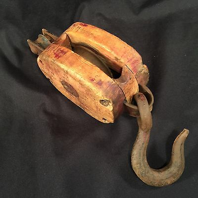 Antique Pulley Wood Decor Steel Hook Barn Industrial Primitive PRIORITY MAIL b