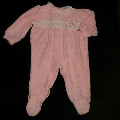 Sweet Vintage Izod Lacoste Baby Girls Thick Terrycloth Footed Sleeper Eyelet 6 M
