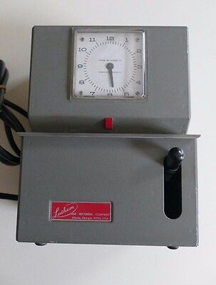 Vintage LATHEM TIME CLOCK RECORDER/PUNCH CARD MACHINE-WORKS AND PRINTS