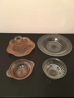 Lot Of (4) Vintage EAPG/Depression Glass Serving Dishes/Bowls Early 20th Century