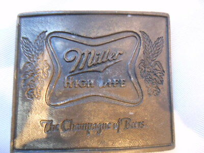 VINTAGE 1970s **MILLER HIGH LIFE THE CHAMPAGNE OF BEERS** BELT BUCKLE