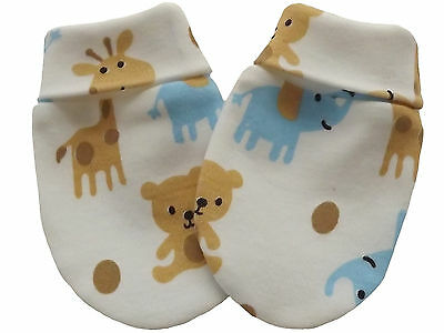 100% Organic Cotton Baby Mittens Gloves Multi-Color Cartoons Unisex Handmade