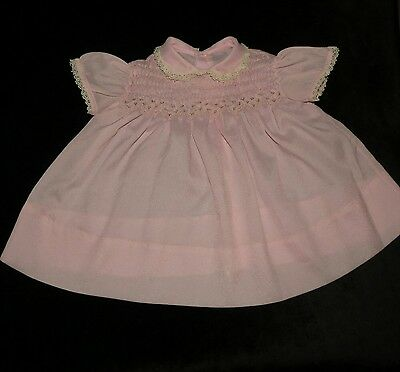 Sweet Vintage Handmade? Smocked Embroidered Baby Dress Approx 3-6 Months Evc