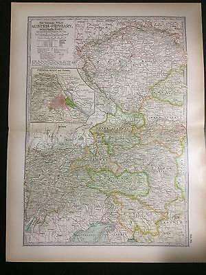1897 Map of Empire Austria-Hungary Western -The Century Atlas by Ben Smith #90