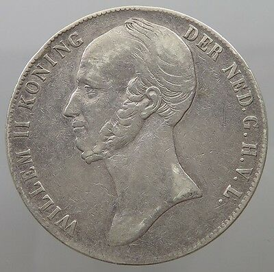 NETHERLANDS 1845 Silver 2 1/2 GULDEN Coin