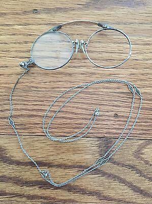 Antique 1/10 12k Gold Filled Oxford Pince Nez Glasses with Silver Chain