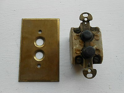 Antique Porcelain Push Button Wall Light Switch Ceramic Mother of Pearl & Plate