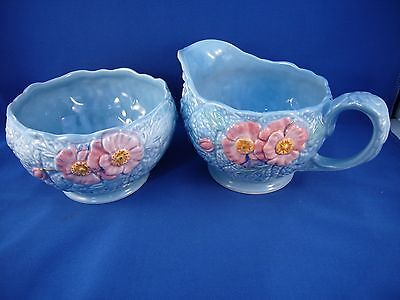 Vintage Melba-Ware creamer and sugar bowl. Small hairline crack.