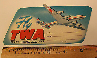 Vintage Original Rare TWA Airlines Luggage Label Travel Sticker Not reproduction