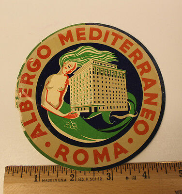 Vintage Original Hotel Luggage Label Travel Sticker Rome Italy 1940 Not reproduc