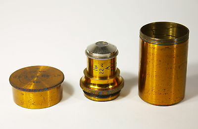 R&J Beck 1 inch / 22mm Microscope Objective Lens + Brass Canister