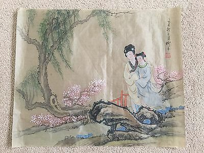 A beautiful original Chinese watercolour on silk, with calligraphy and red seal