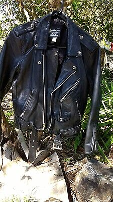 """Vtg PUNK ROCK MOTORCYCLE Black Leather Jacket mens Small 36"""" chest."""