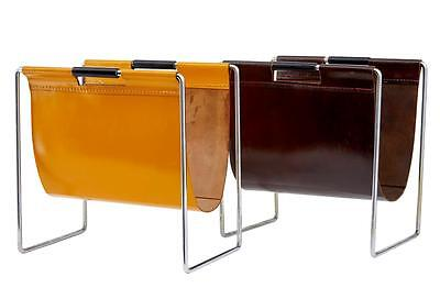 Pair Of Scandinavian Modern Leather Magazine Racks