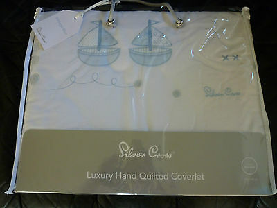 Silvercross Vintage Blue Cot Coverlette (Pale blue & White)-still bagged-new