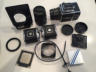 Hasselblad 500 CM Complete Kit w/2 Zeiss lens 80mm 2.8 & 50mm f/4  3- A12 backs