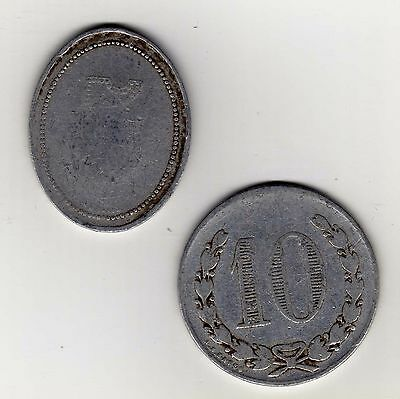 """Argentina maverick tokens: """"5"""" and """"10"""" with """"D M: counterstamp"""