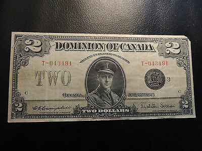 1923 DOMINION OF CANADA TWO DOLLAR $ 2 DC-26j CAMPBELL SELLAR T-043491