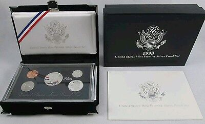 1998 S United States Mint Premier Silver Proof 5 Coin Set 90% Silver + Box