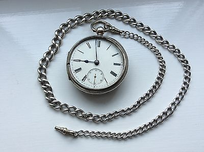 Antique Working London Silver Pocket Watch With Graduated Albert Chain . 1881