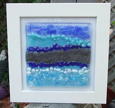Fused Glass Art in frame `Yorkshire seascape 1`