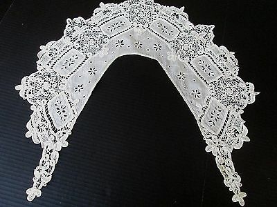 Antique Edwardian Needle Lace..mixed Lace ..broderie Anglaise Bertha Collar