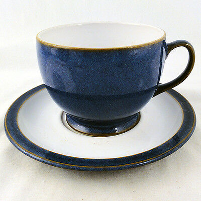 IMPERIAL BLUE by DENBY Breakfast Large Cup & Saucer NEW NEVER USED made England