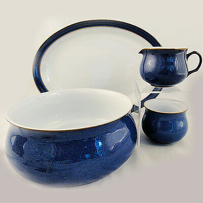 IMPERIAL BLUE by DENBY 4 PIECE COMPLETER SET NEW NEVER USED made in England