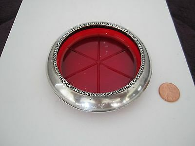 Vintage Frank M. Whiting & Co. Sterling Silver And Ruby Crystal Coaster