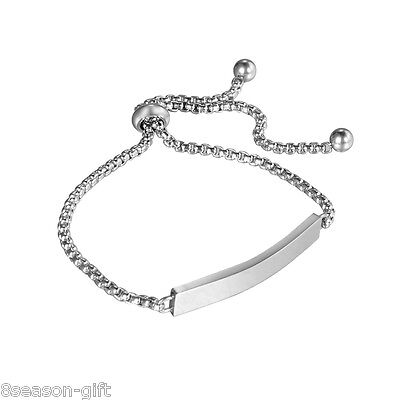 1PC Silver Tone Stainless Steel Plain Lettering Rectangle Adjustable Bracelet