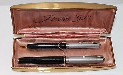 Vintage Parker 51 Black Double Jewel Fountain Pen + Pencil  Sterling Silver Caps