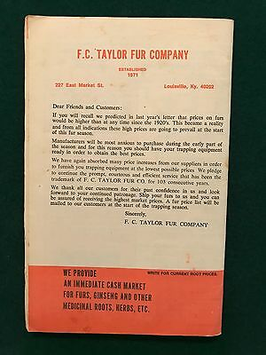 "Vintage ""F.C. Taylor Fur Co."" catalog with shipping card and envelope"
