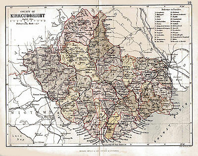 Map of County of Kirkcubright, Scotland.