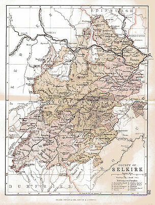 Map of The County of Selkirk, Scotland.