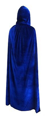 Penta Angel Velvet Hooded Cloak Role Play Costume Halloween Party Cape Blue 77""