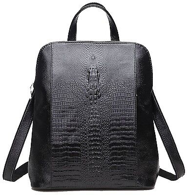 Coolcy New Fashion Casual Women Genuine Leather Backpack Shoulder Bag Black