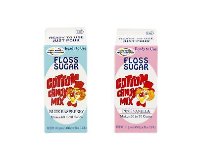 Perfect Stix Floss Sugar Blue Raspberry-Pink Vanilla-2 Cotton Candy Floss Sug...