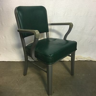 Vtg STEELCASE Industrial Office Arm Chair Green + Gray MCM Mid Century Modern
