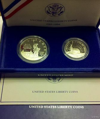 1986 Statue of Liberty 2-pc PROOF SET. silver dollar & half dollar. COMPLETE!
