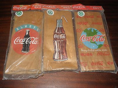3 Unopened 20 Count Coca-Cola Brand Lunch Bags (60 Bags) No Reserve