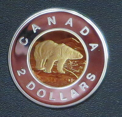 1999 Canada Silver $2 Dollar Toonie With gold plating - Frosted Proof Polar Bear
