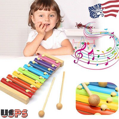 Wooden 8 Notes Musical Xylophone Piano Instrument for Educational Baby Child Toy