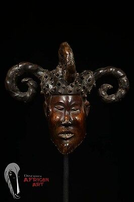 """Beautiful Ekoi Ejagham Leather-Covered Mask with """"Horns"""" from Nigeria"""
