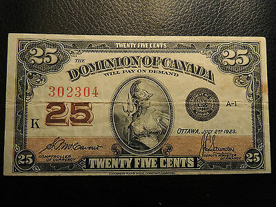 1923 Dominion Of Canada Shinplaster 0.25 Twenty Five Mccavour Saunders 302304