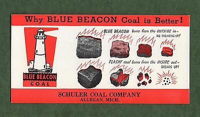 """BLUE BEACON COAL Unused Blotter - 3""""x6"""", 1940's?, Lighthouse, Great Condition"""