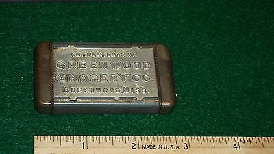 ~Vintage GREENWOOD MISSISSIPPI GROCERY CO. Advertising Match Safe-Holder~GROCERS