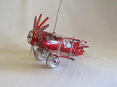 Large Coca-Cola Coke Aluminum Can Hand Crafted Bi-Plane Airplane