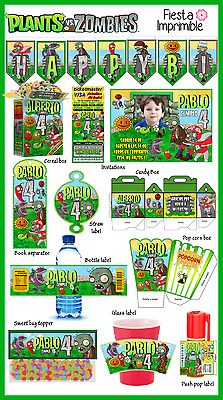 Plants vs Zombies printable party set, birthday party kit, party package